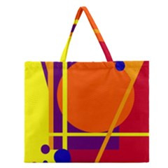 Orange Abstract Design Zipper Large Tote Bag by Valentinaart