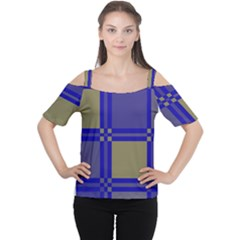 Blue Design Women s Cutout Shoulder Tee by Valentinaart