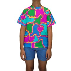 Colorful Abstract Design Kid s Short Sleeve Swimwear by Valentinaart