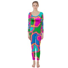 Colorful Abstract Design Long Sleeve Catsuit by Valentinaart