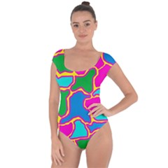 Colorful Abstract Design Short Sleeve Leotard  by Valentinaart