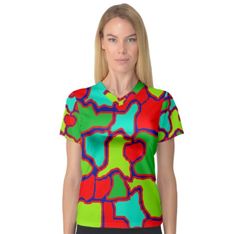 Colorful Abstract Design Women s V-neck Sport Mesh Tee by Valentinaart