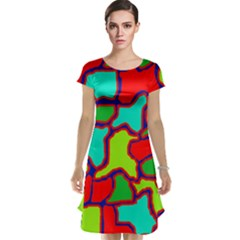 Colorful Abstract Design Cap Sleeve Nightdress by Valentinaart