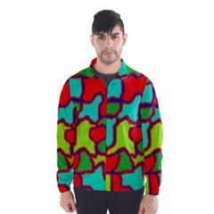 Colorful Abstract Design Wind Breaker (men) by Valentinaart