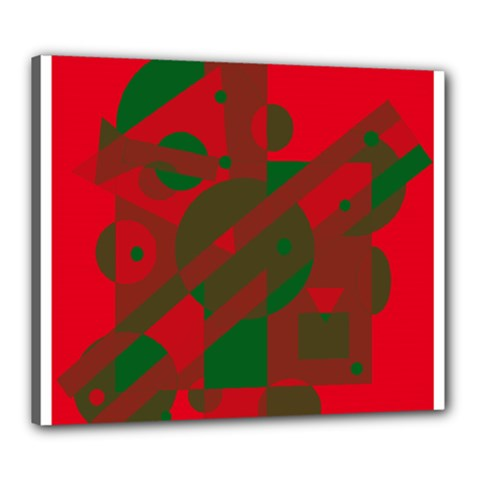 Red And Green Abstract Design Canvas 24  X 20  by Valentinaart