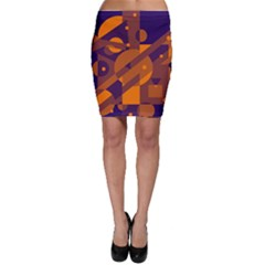 Blue And Orange Abstract Design Bodycon Skirt by Valentinaart