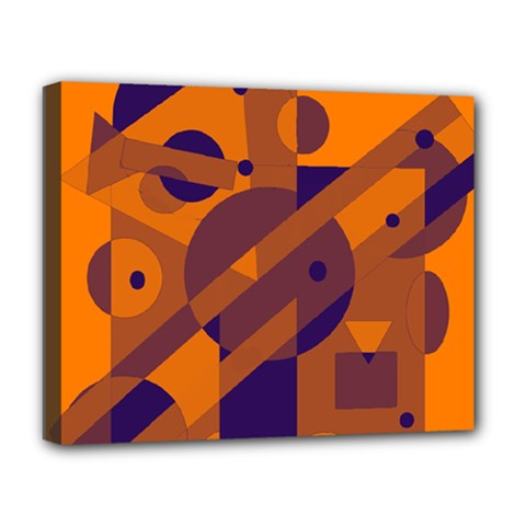 Orange And Blue Abstract Design Deluxe Canvas 20  X 16   by Valentinaart