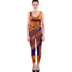 Orange And Blue Abstract Design Onepiece Catsuit by Valentinaart