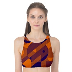 Orange And Blue Abstract Design Tank Bikini Top by Valentinaart
