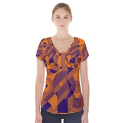 Orange And Blue Abstract Design Short Sleeve Front Detail Top by Valentinaart