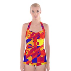 Colorful Abstraction Boyleg Halter Swimsuit  by Valentinaart