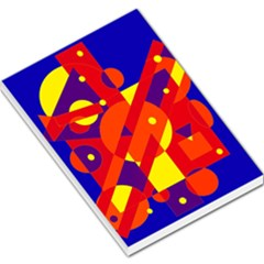 Blue And Orange Abstract Design Large Memo Pads by Valentinaart