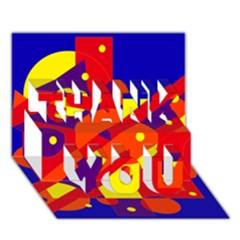 Blue And Orange Abstract Design Thank You 3d Greeting Card (7x5)