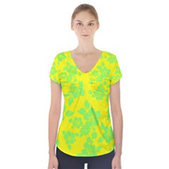 Bright Hawaiian Short Sleeve Front Detail Top
