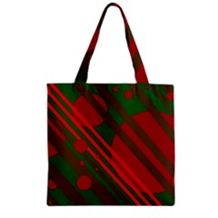 Red And Green Abstract Design Zipper Grocery Tote Bag by Valentinaart