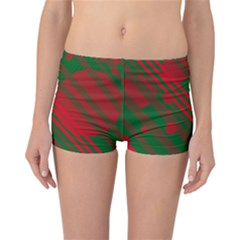 Red And Green Abstract Design Reversible Boyleg Bikini Bottoms by Valentinaart