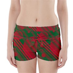 Red And Green Abstract Design Boyleg Bikini Wrap Bottoms by Valentinaart
