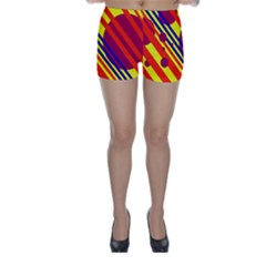 Hot Circles And Lines Skinny Shorts by Valentinaart