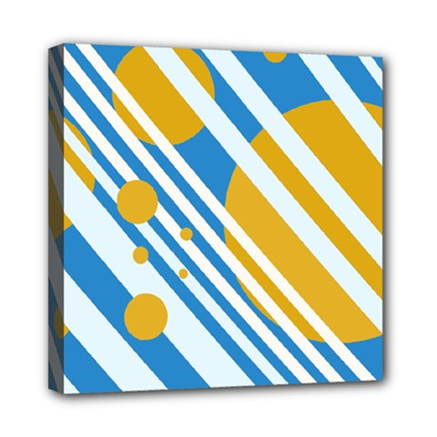 Blue, Yellow And White Lines And Circles Mini Canvas 8  X 8  by Valentinaart