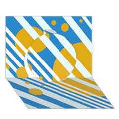 Blue, Yellow And White Lines And Circles Circle 3d Greeting Card (7x5)
