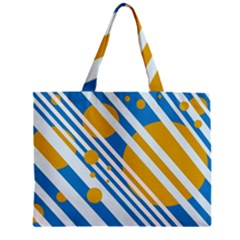 Blue, Yellow And White Lines And Circles Mini Tote Bag by Valentinaart