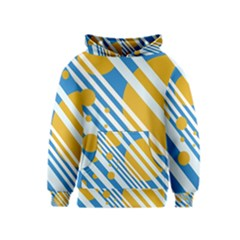 Blue, Yellow And White Lines And Circles Kids  Pullover Hoodie by Valentinaart