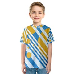 Blue, Yellow And White Lines And Circles Kid s Sport Mesh Tee