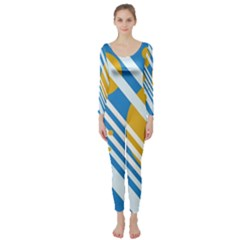 Blue, Yellow And White Lines And Circles Long Sleeve Catsuit by Valentinaart