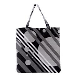 Gray Lines And Circles Grocery Tote Bag by Valentinaart