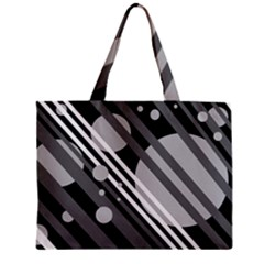Gray Lines And Circles Zipper Mini Tote Bag by Valentinaart
