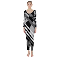Gray Lines And Circles Long Sleeve Catsuit by Valentinaart
