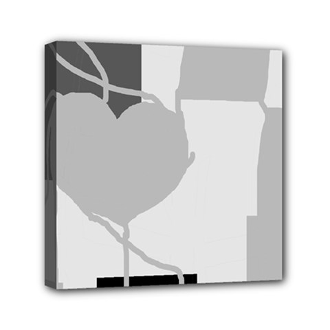 Gray Hart Mini Canvas 6  X 6
