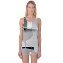 Gray Hart One Piece Boyleg Swimsuit by Valentinaart
