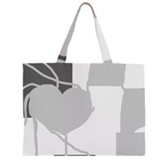 Gray Hart Zipper Large Tote Bag by Valentinaart