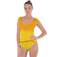 Yellow Decorative Design Short Sleeve Leotard  by Valentinaart