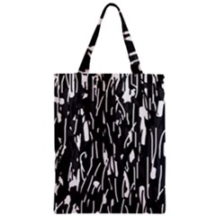 Black And White Elegant Pattern Zipper Classic Tote Bag by Valentinaart