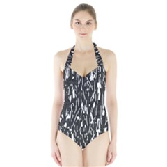 Black And White Elegant Pattern Halter Swimsuit by Valentinaart