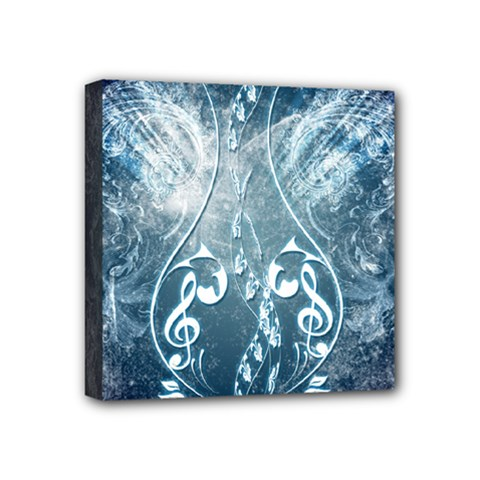Music, Decorative Clef With Floral Elements In Blue Colors Mini Canvas 4  X 4