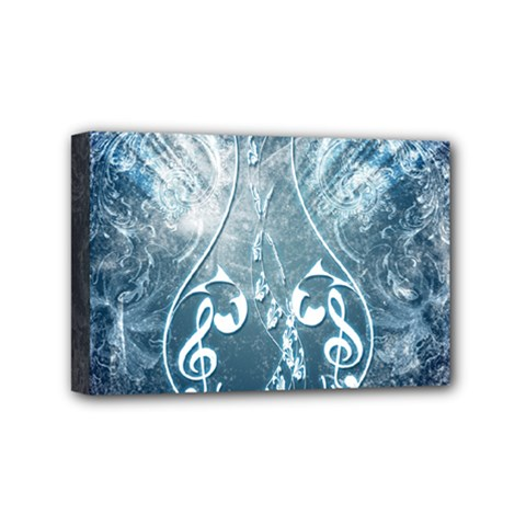Music, Decorative Clef With Floral Elements In Blue Colors Mini Canvas 6  X 4  by FantasyWorld7