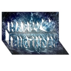 Music, Decorative Clef With Floral Elements In Blue Colors Happy Birthday 3d Greeting Card (8x4)  by FantasyWorld7