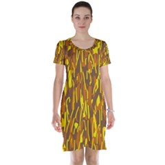 Yellow Pattern Short Sleeve Nightdress by Valentinaart