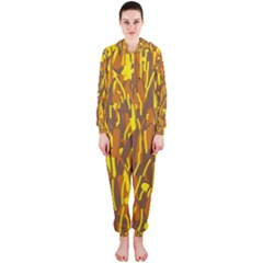 Yellow Pattern Hooded Jumpsuit (ladies)  by Valentinaart