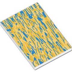 Yellow And Blue Pattern Large Memo Pads by Valentinaart