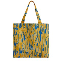 Yellow And Blue Pattern Grocery Tote Bag by Valentinaart