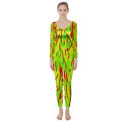 Green And Red Pattern Long Sleeve Catsuit by Valentinaart