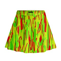 Green And Red Pattern Mini Flare Skirt by Valentinaart
