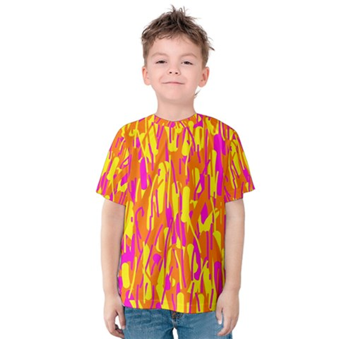 Pink And Yellow Pattern Kid s Cotton Tee by Valentinaart