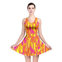 Pink And Yellow Pattern Reversible Skater Dress by Valentinaart