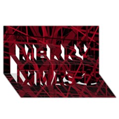 Black And Red Pattern Merry Xmas 3d Greeting Card (8x4)