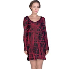 Black And Red Pattern Long Sleeve Nightdress by Valentinaart